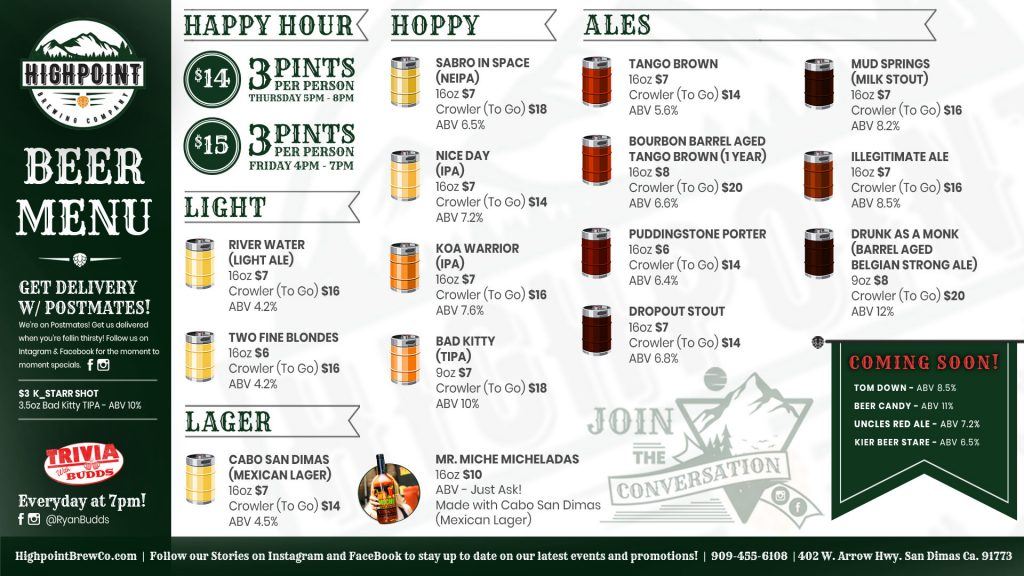 Highpoint Brewing Co. Beer Menu 2-24-2021